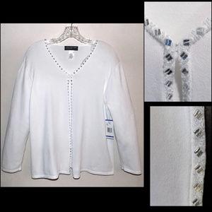 NWT Embellished white cardigan XL V-neck Dressy